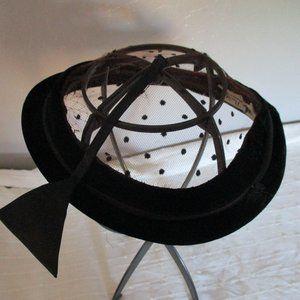 Vintage black velvet fascinator